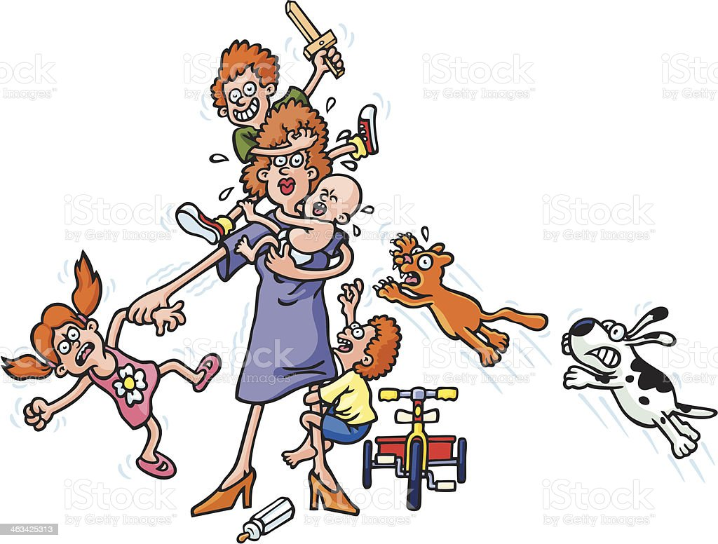 Illustration of a very busy mother vector art illustration