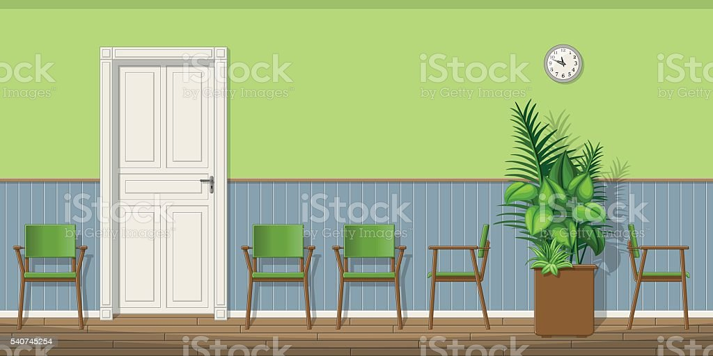 Illustration of a waiting room with chairs vector art illustration