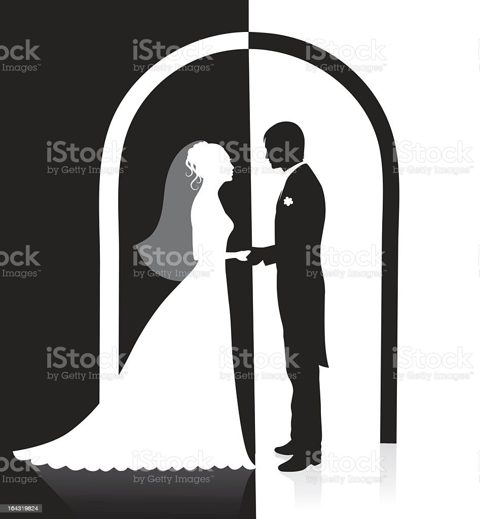 Illustration of a wedding arch, bride, and groom silhouette royalty-free stock vector art