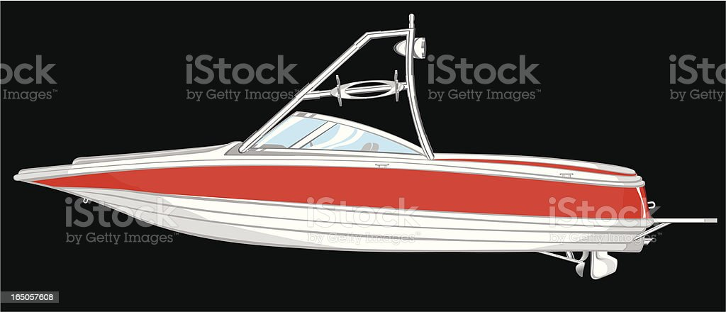 Illustration of a white and red boat royalty-free stock vector art