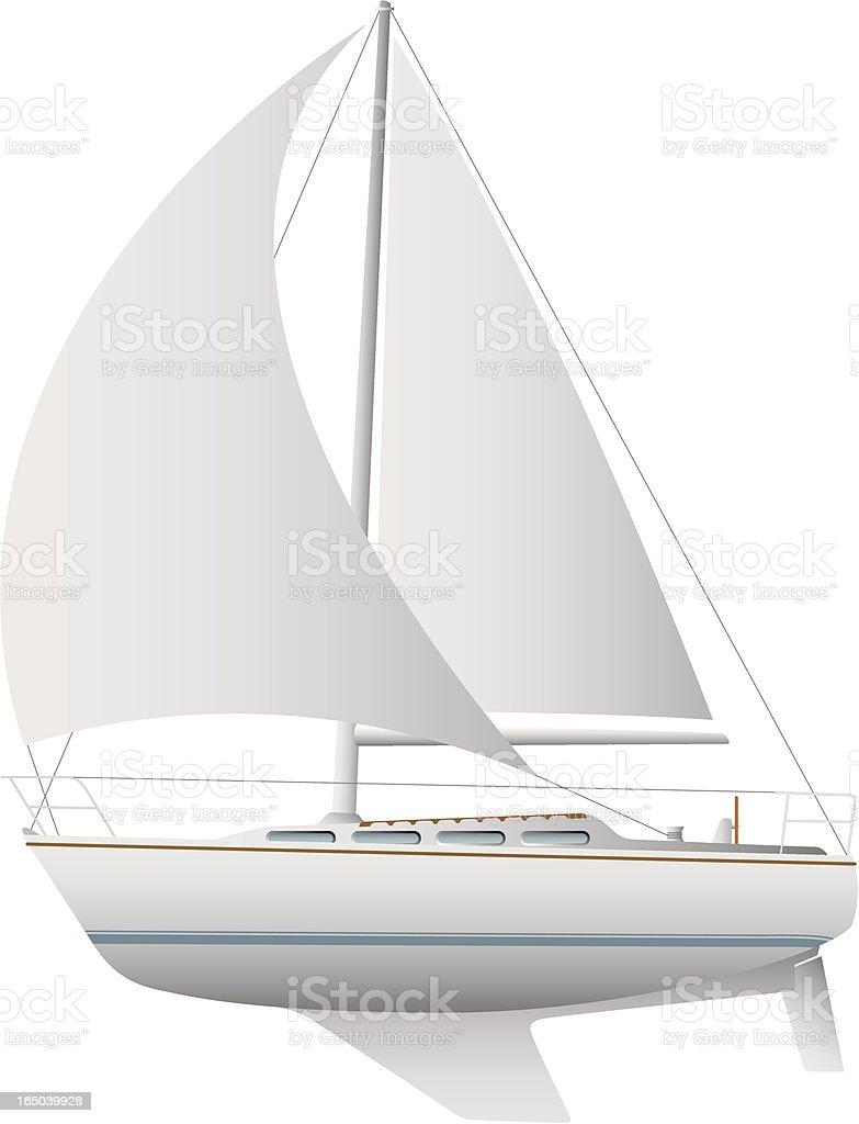 Illustration of a white sailboat against a white background vector art illustration