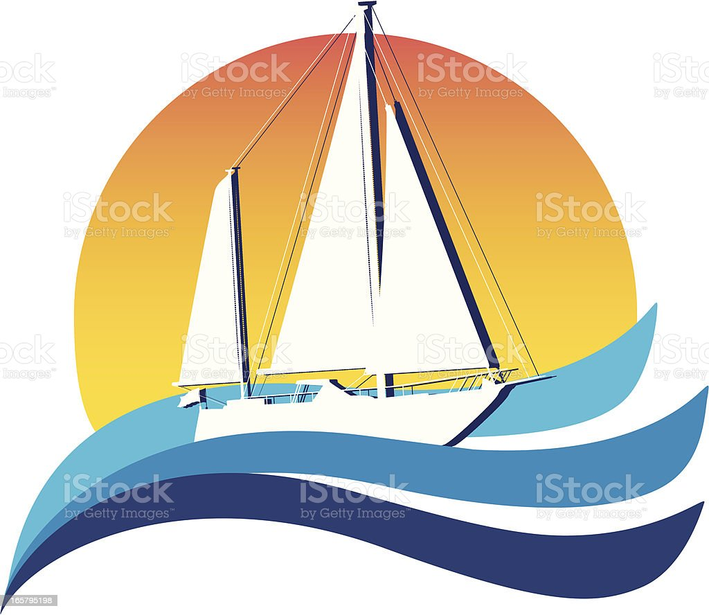 Illustration of a white sailboat on the sea royalty-free stock vector art