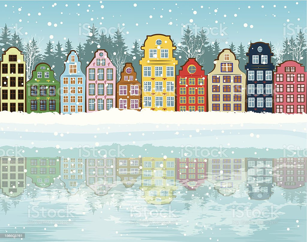 Illustration of a winter background with colorful buildings vector art illustration