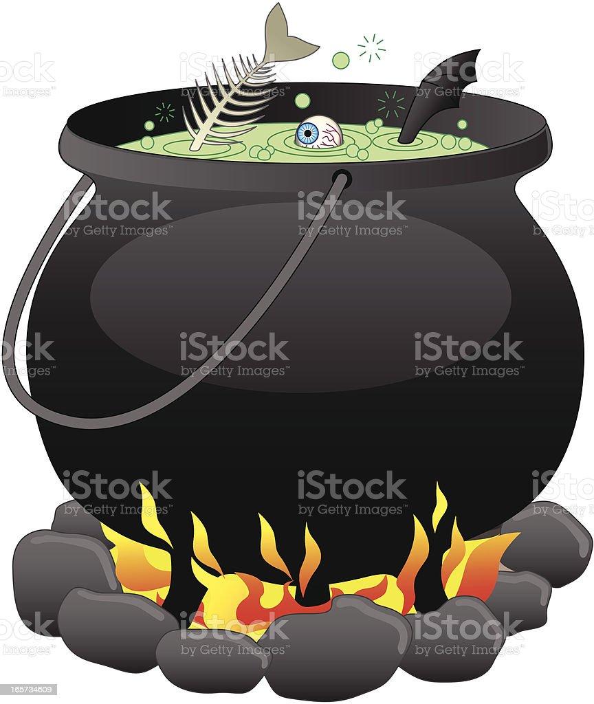 Illustration of a witch's cauldron vector art illustration