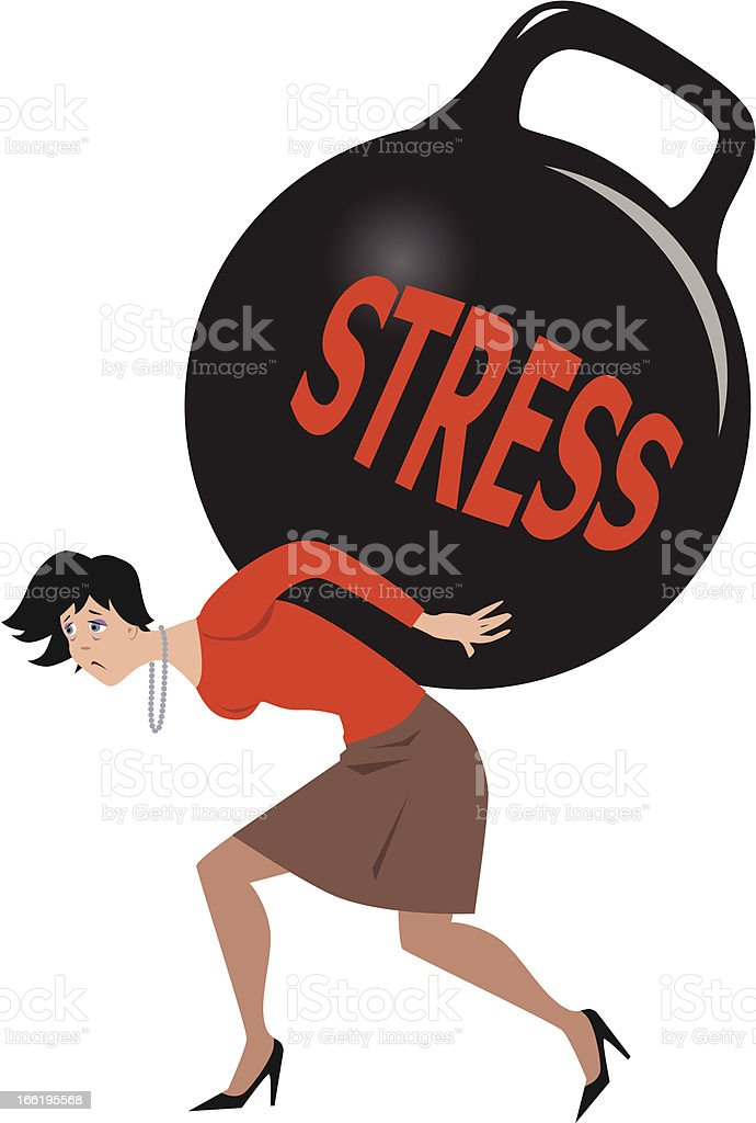 Illustration of a woman carrying weigh with a word stress royalty-free stock vector art