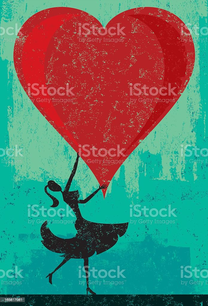 A illustration of a woman holding a huge heart royalty-free stock vector art