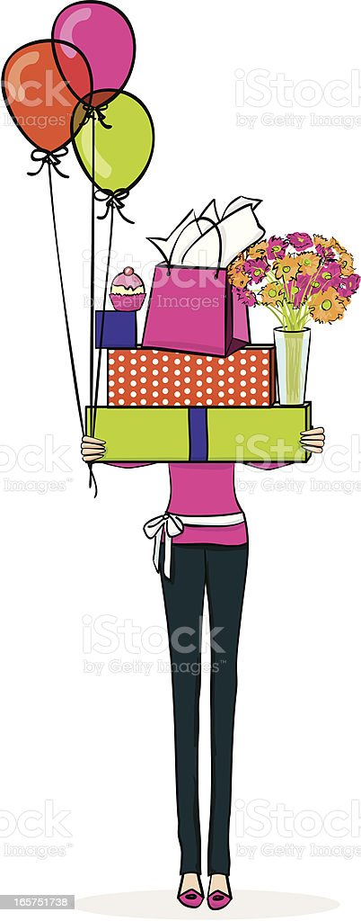 Illustration of a woman holding brightly colored gifts vector art illustration