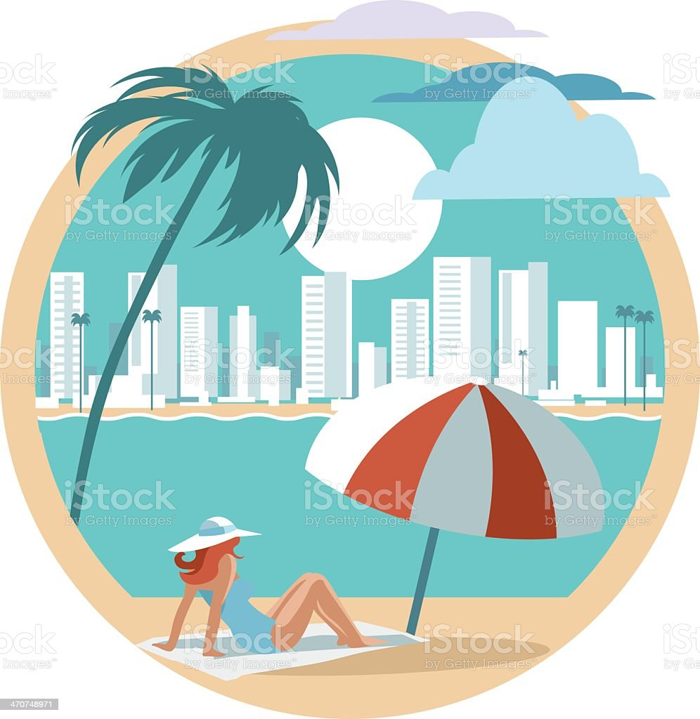 Illustration of a woman in Miami Beach vector art illustration
