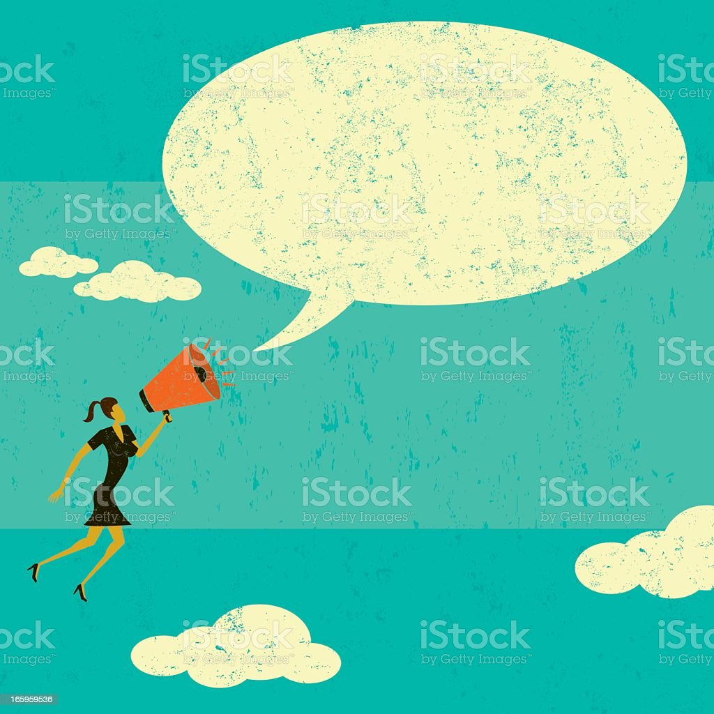 Illustration of a woman with a megaphone with a text bubble vector art illustration