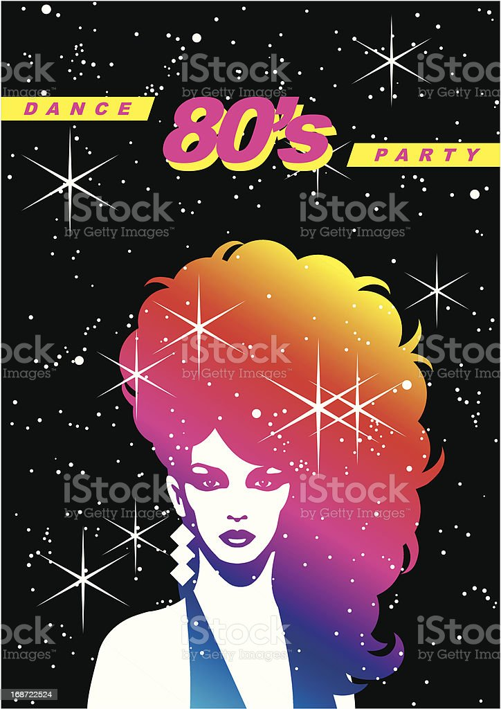 Illustration of a woman with big hair in the eighties vector art illustration
