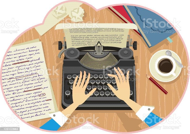 Illustration of a woman's hands typing vector art illustration