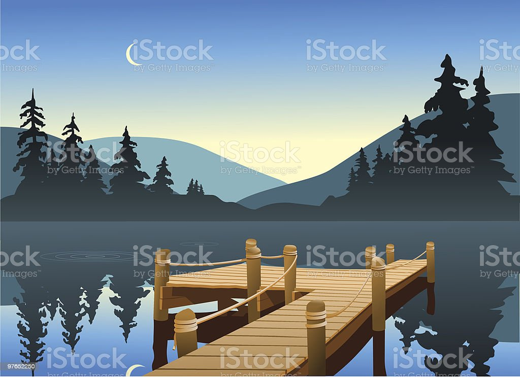 Illustration of a wooden fishing dock on a big lake vector art illustration
