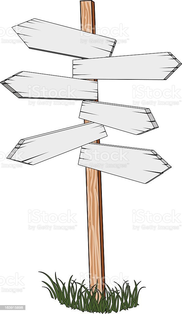Illustration of a wooden signpost with six white arrows vector art illustration