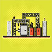 Illustration of a yellow background and power substation