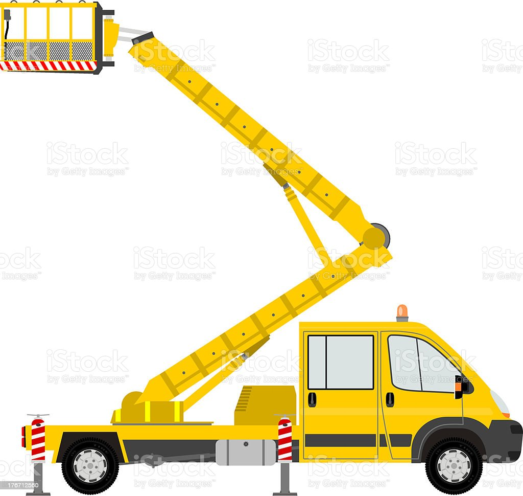 Illustration of a yellow bucket truck royalty-free stock vector art