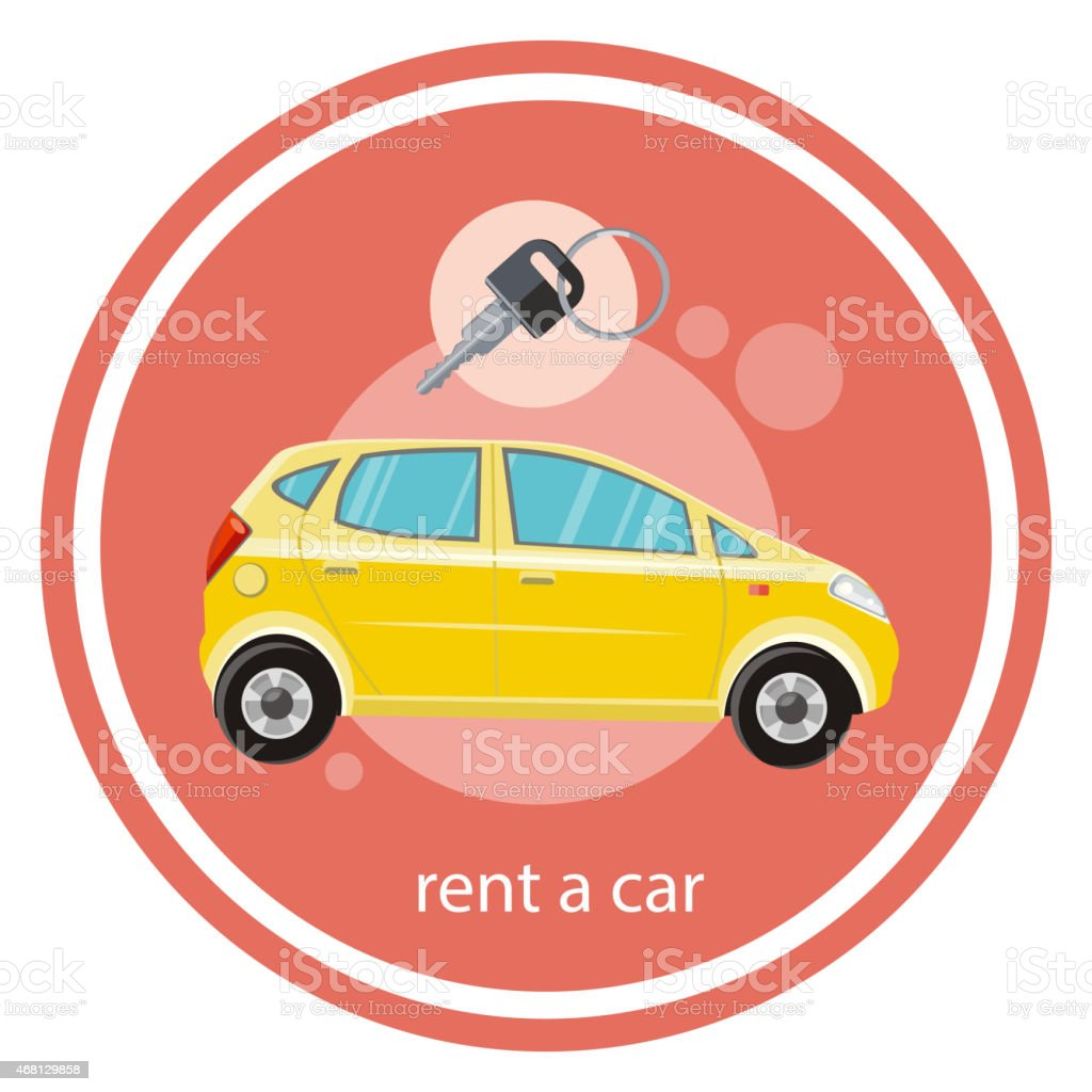 A illustration of a yellow rent a car and key vector art illustration