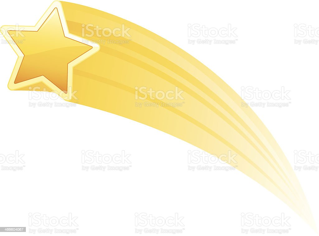 Illustration of a yellow shooting star on white background vector art illustration