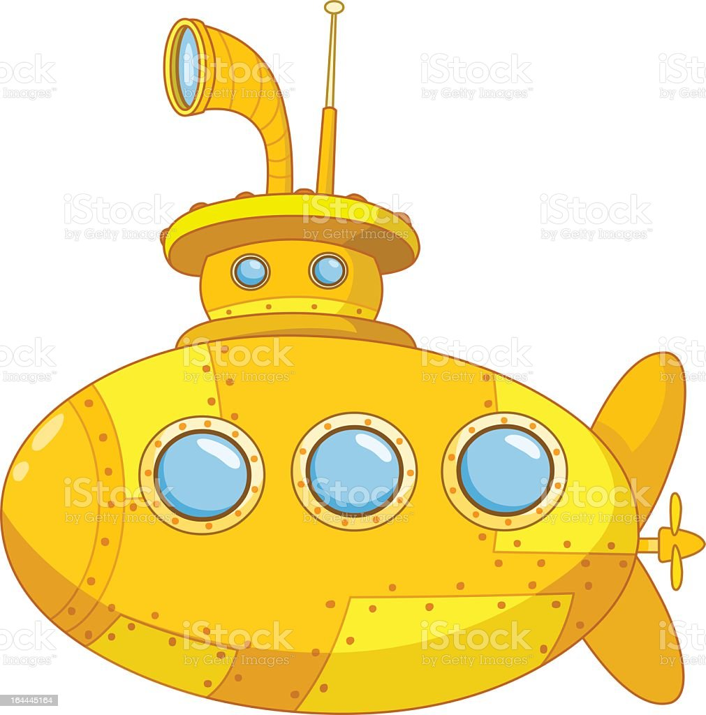 A illustration of a yellow submarine royalty-free stock vector art