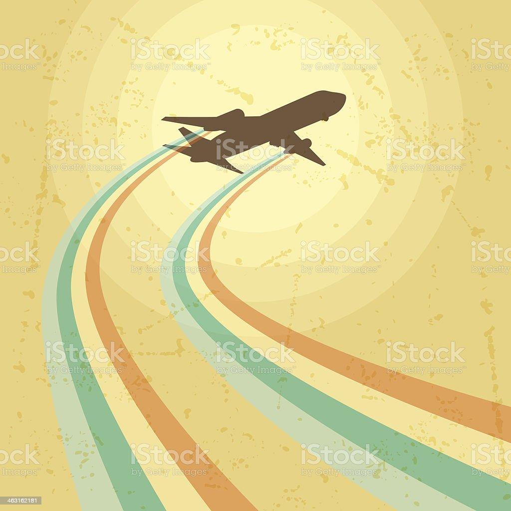 Illustration of airplane flying in the sky. vector art illustration