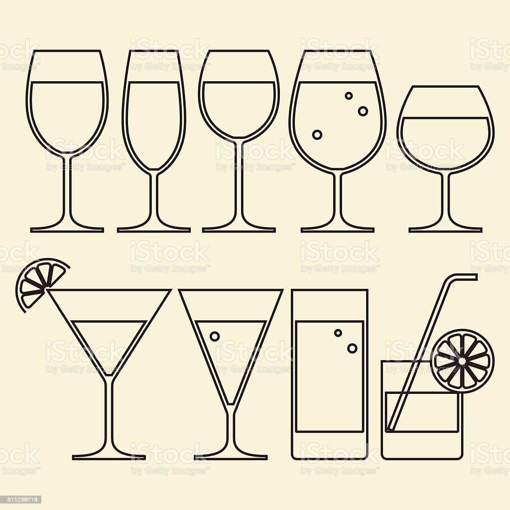 Illustration of Alcohol, Wine, Beer, Cocktail and Water Glasses vector art illustration