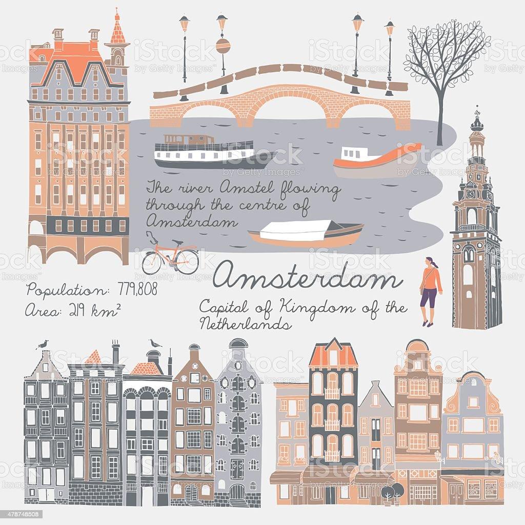 Illustration of Amsterdam Attractions vector art illustration