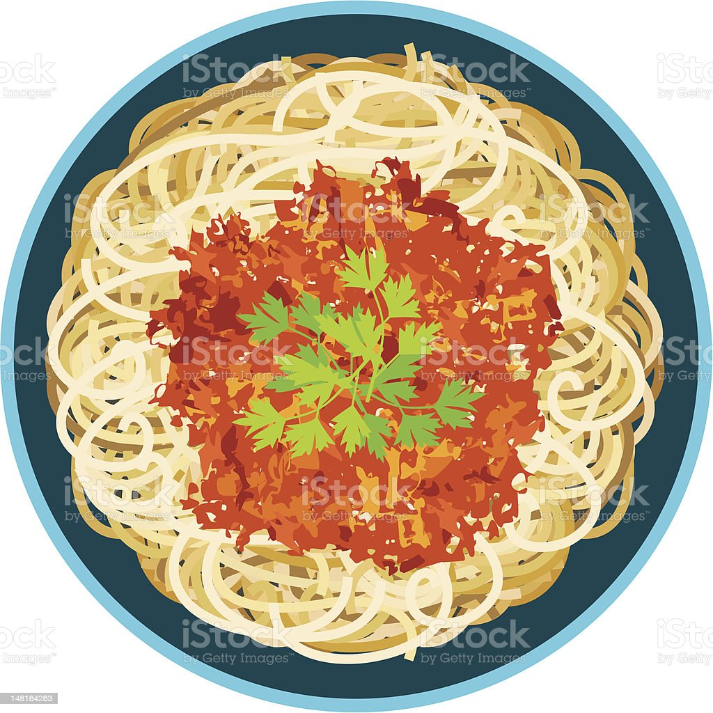 Illustration of an above view of spaghetti in a bowl vector art illustration