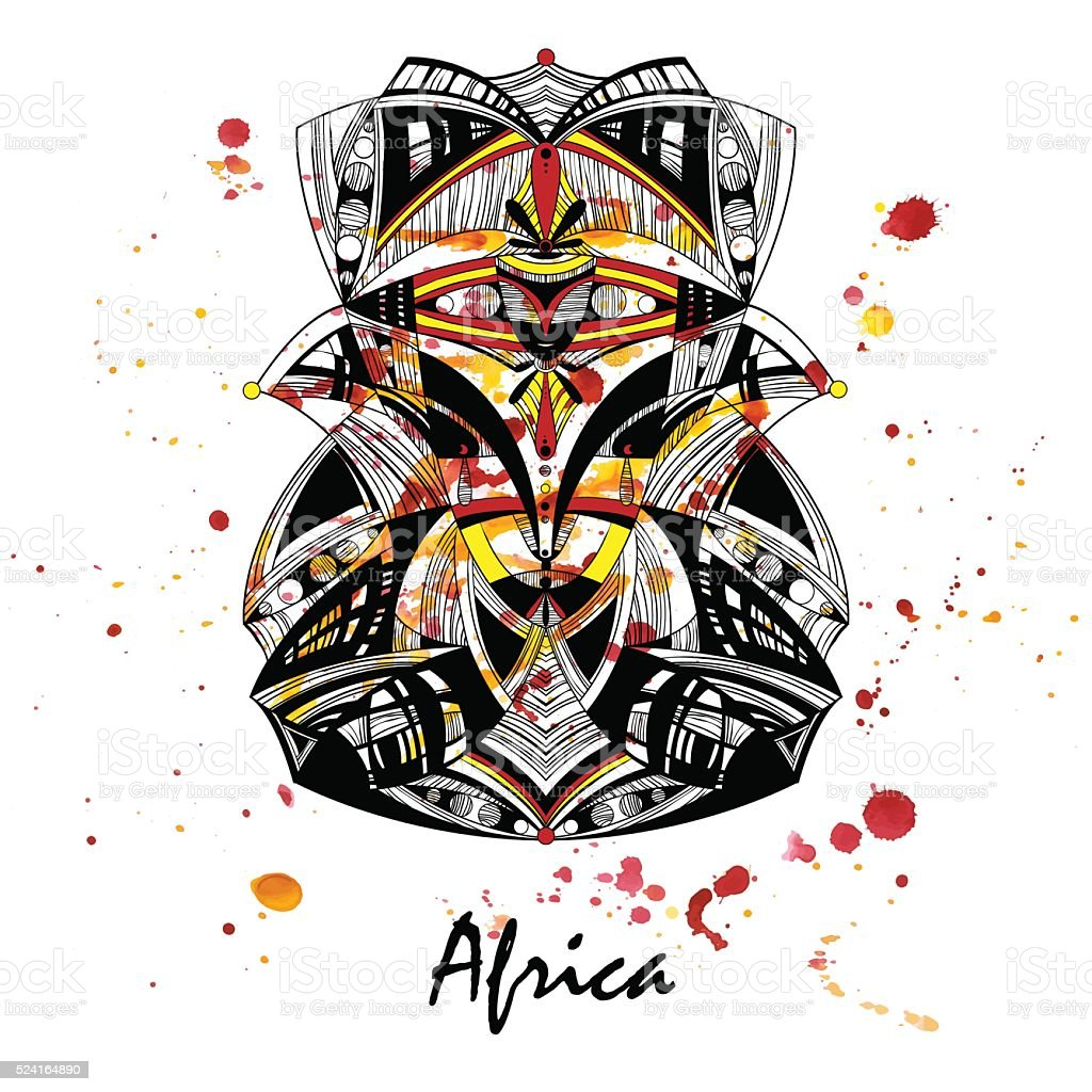 Illustration of an African mask on a watercolor background. vector art illustration