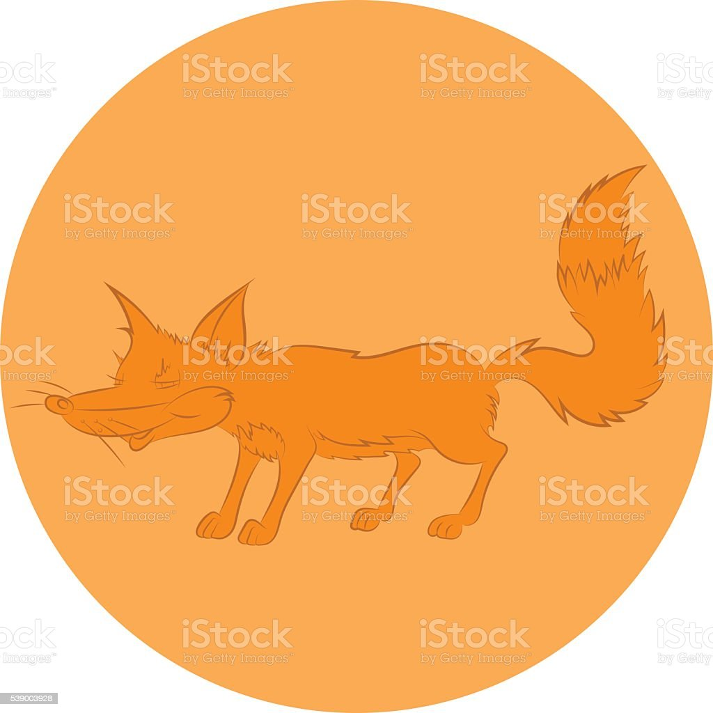 Illustration of an animation cunning fox for the children's book vector art illustration