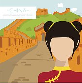 Illustration of an Asian woman in China - travel destination