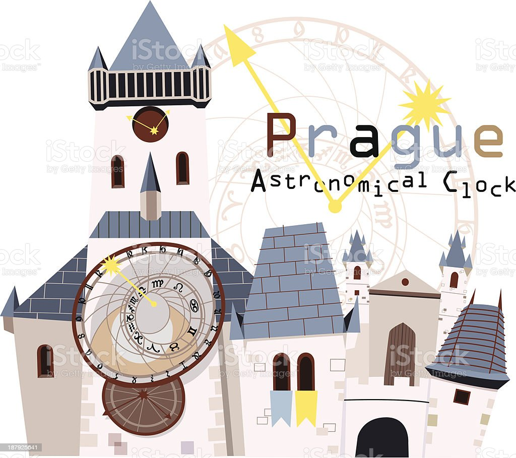 Illustration of an astronomical clock in Prague royalty-free stock vector art