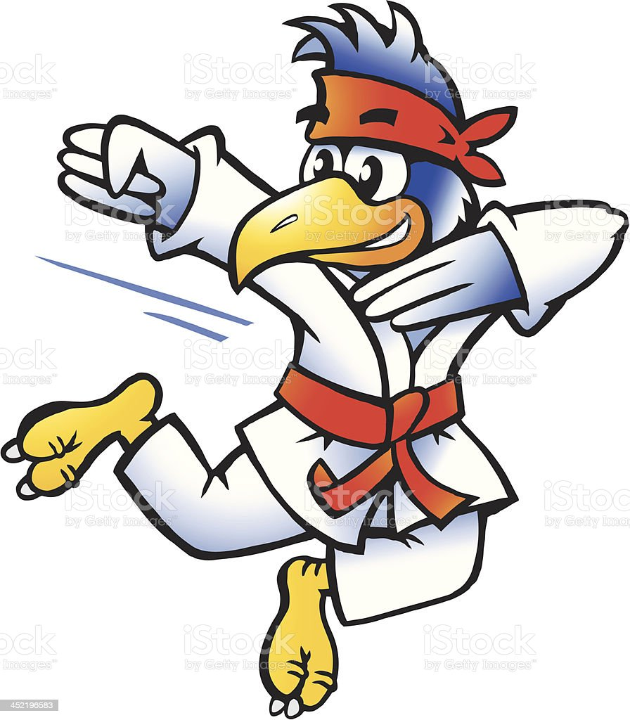 Illustration of an Bird Practices Self-Defense royalty-free stock vector art