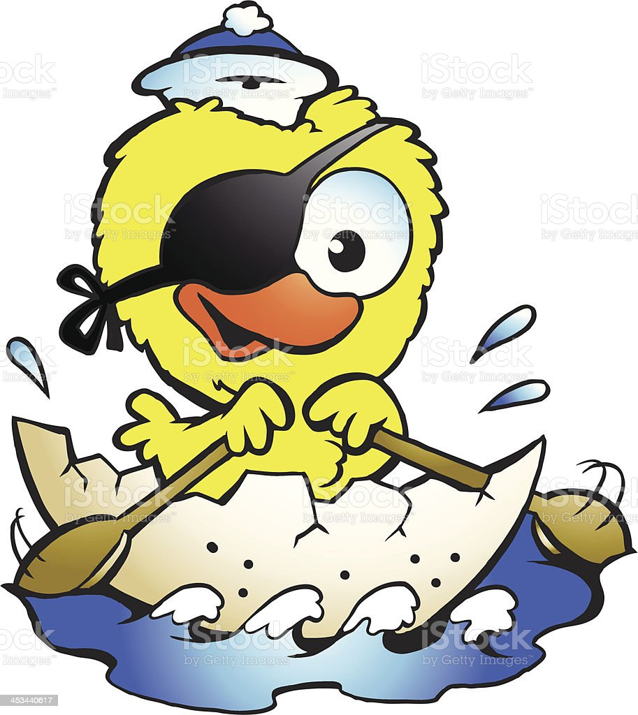 Illustration of an cute baby chicken rowing a boat royalty-free stock vector art