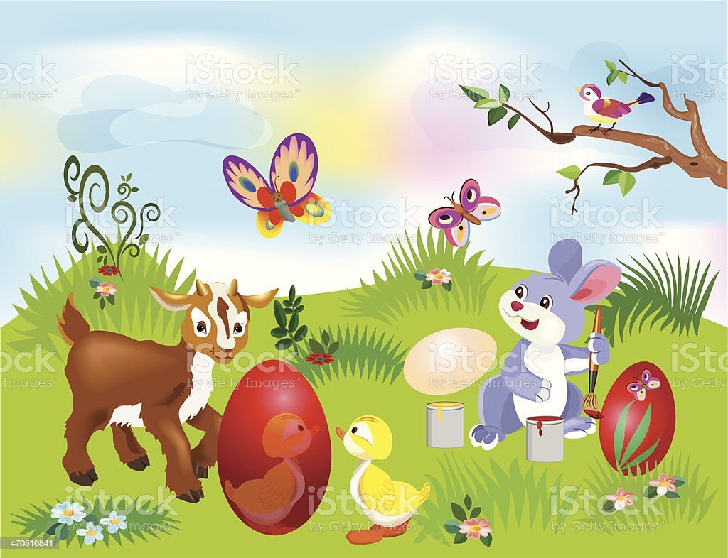 Illustration of an Easter Bunny painting an egg royalty-free stock vector art