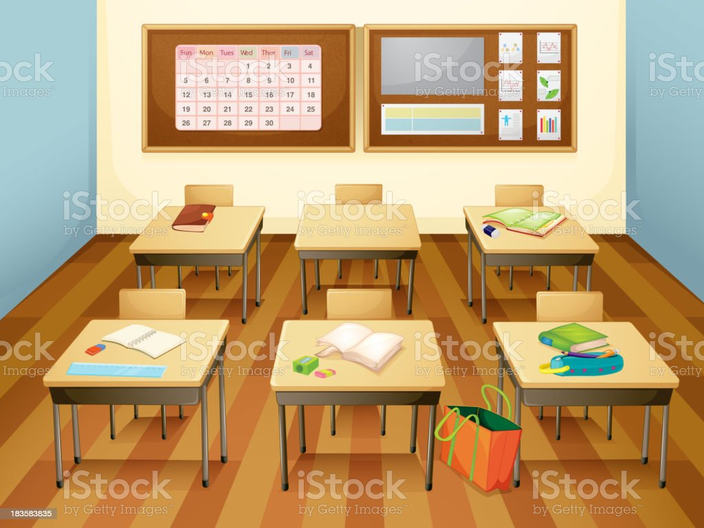 Illustration of an empty class room with six desks royalty-free stock vector art