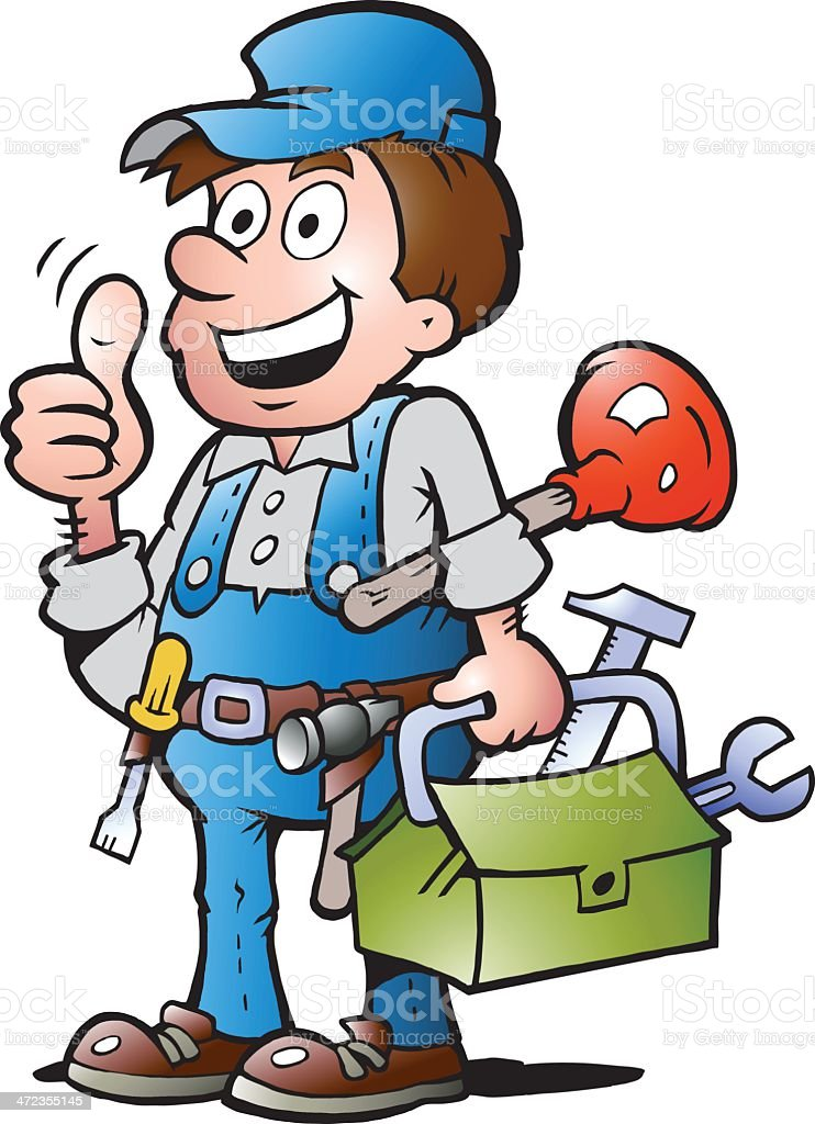 Illustration of an happy Plumber Handyman royalty-free stock vector art