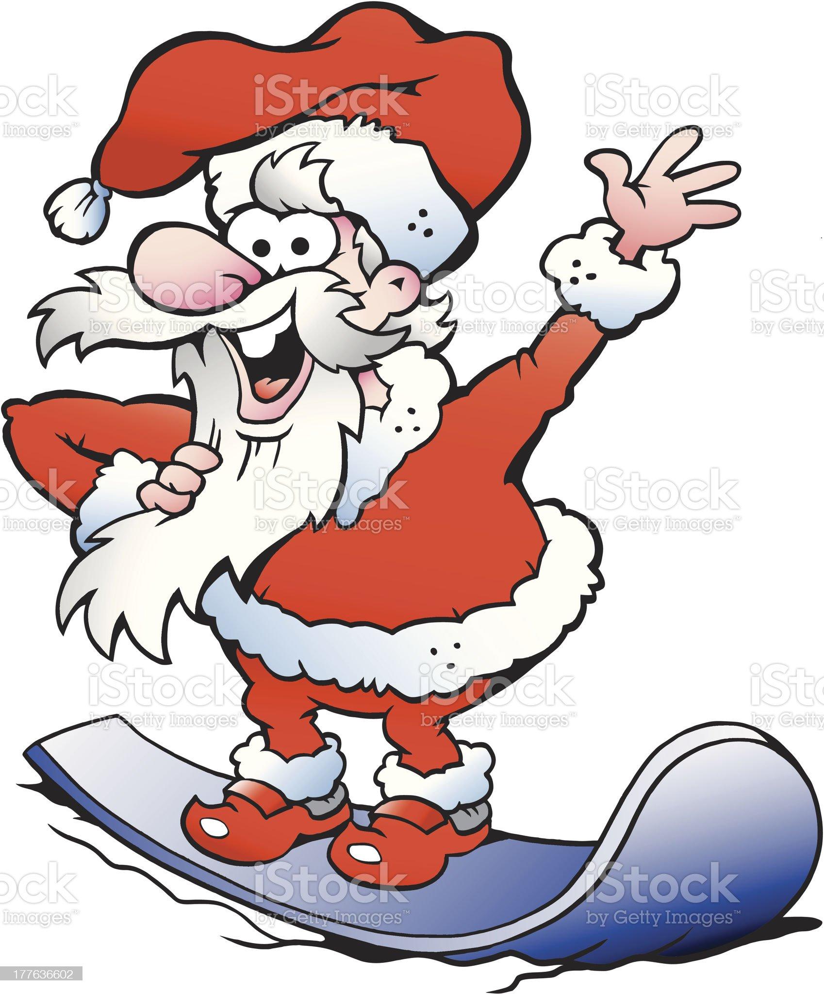 Illustration of an Happy Santa on snowboard royalty-free stock vector art