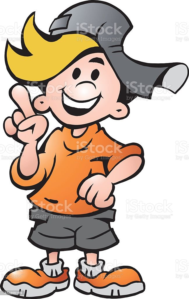 Illustration of an happy School Boy Pointing royalty-free stock vector art