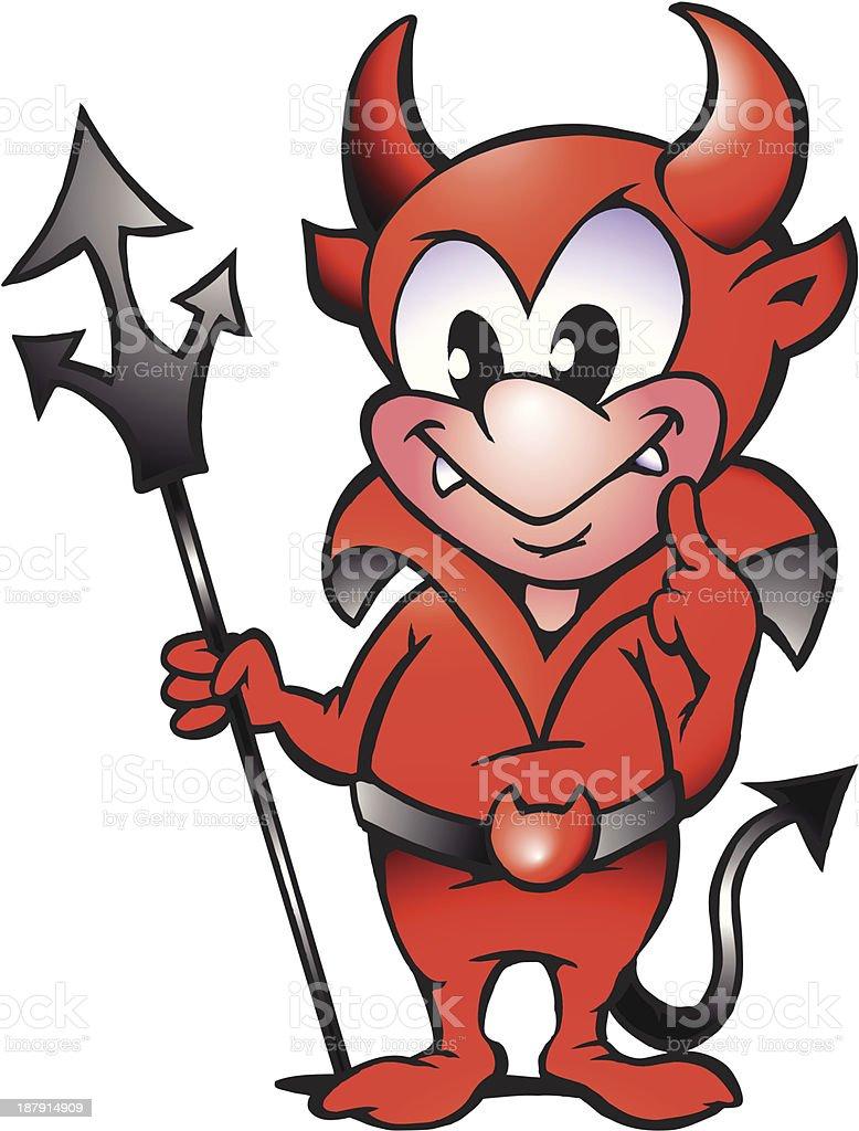 Illustration of an Little Red Devil Boy vector art illustration
