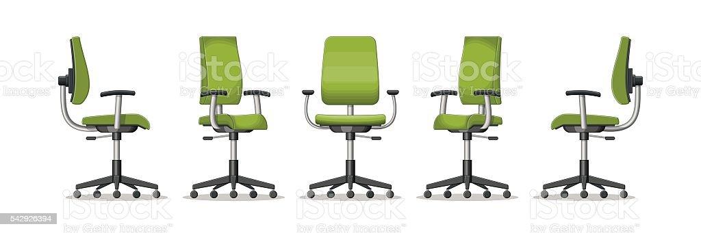 Bürostuhl comic  Abbildung Eines Bürostuhl In Verschiedenen Perspektiven Vektor ...