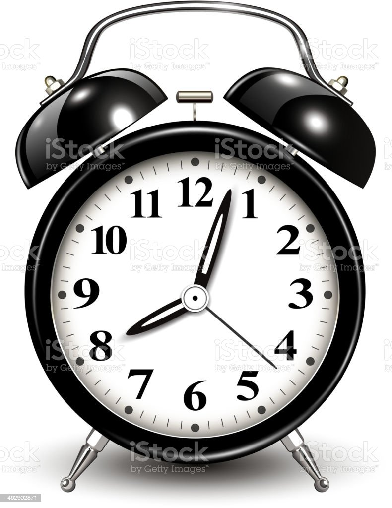 Illustration of an old-fashioned black and white alarm clock vector art illustration