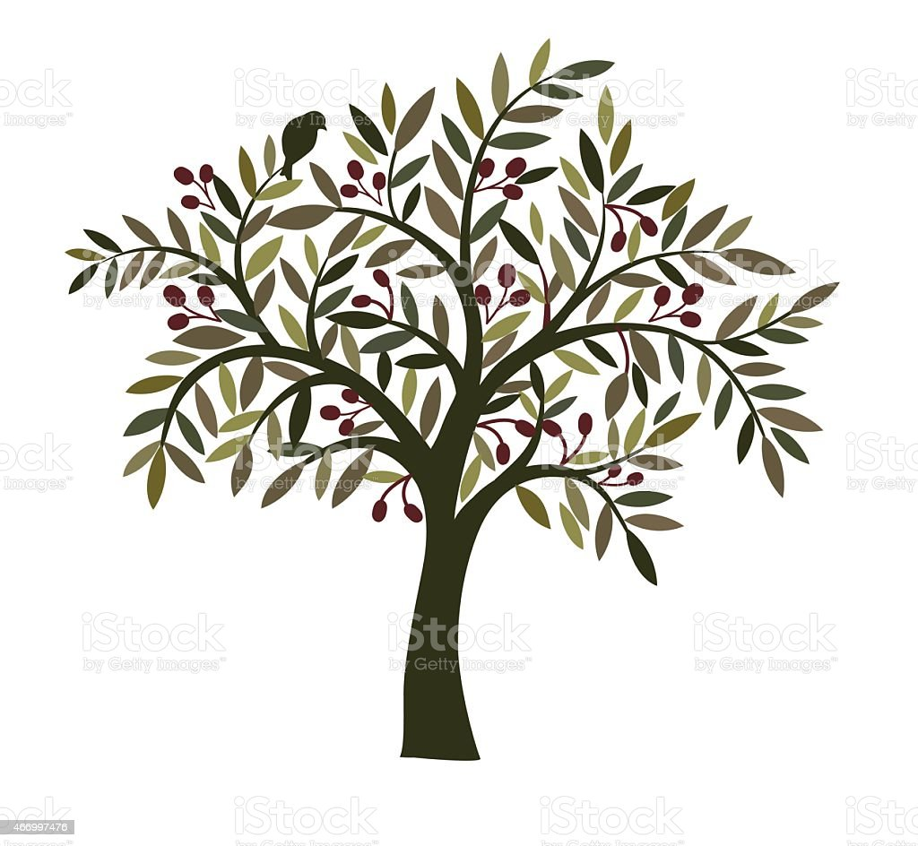 Illustration of an olive tree with a bird in the branches vector art illustration