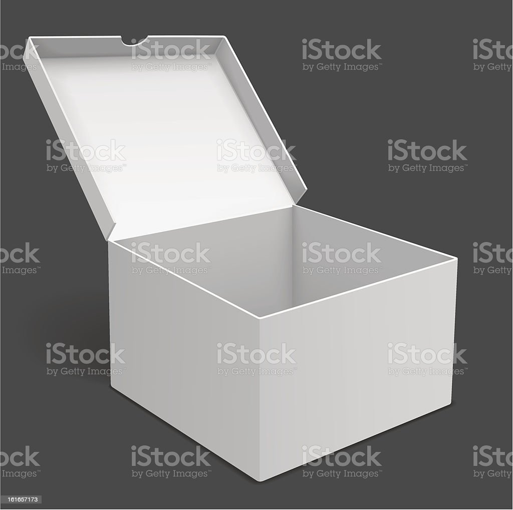 3D illustration of an open white packing box royalty-free stock vector art