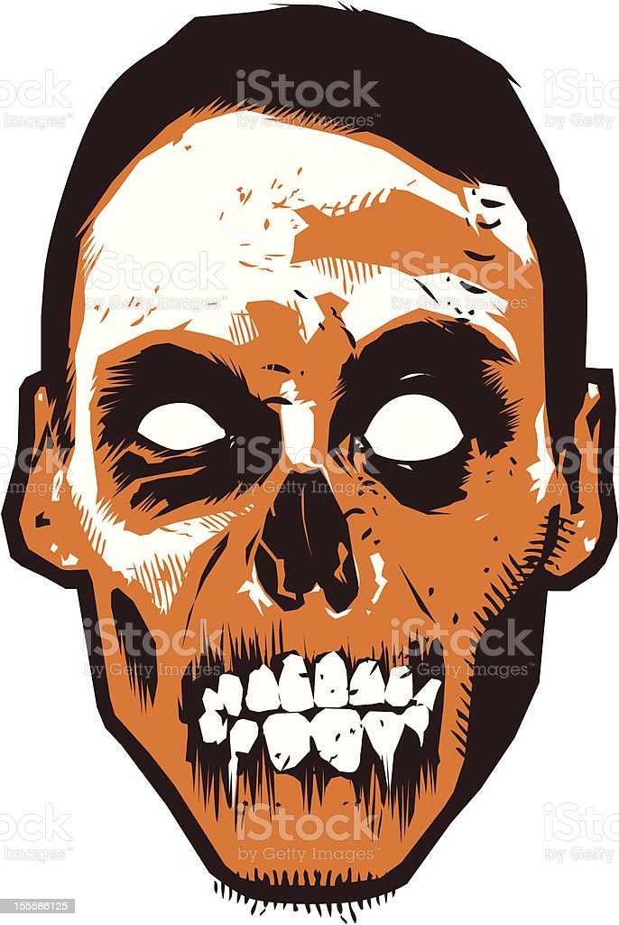 Illustration of an orange decaying zombie royalty-free stock vector art