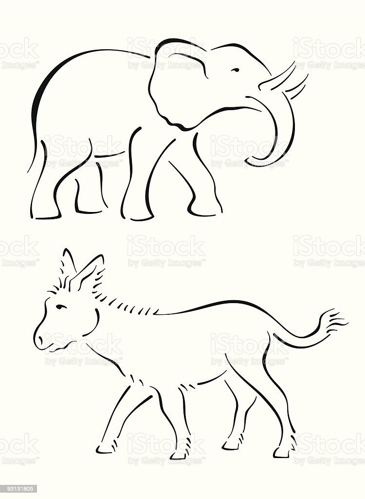 Illustration of an outline of an elephant and a donkey royalty-free stock vector art