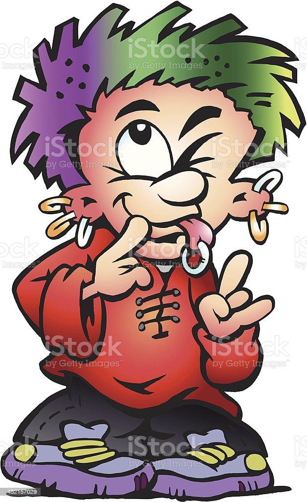 Illustration of an Punk Street Boy vector art illustration