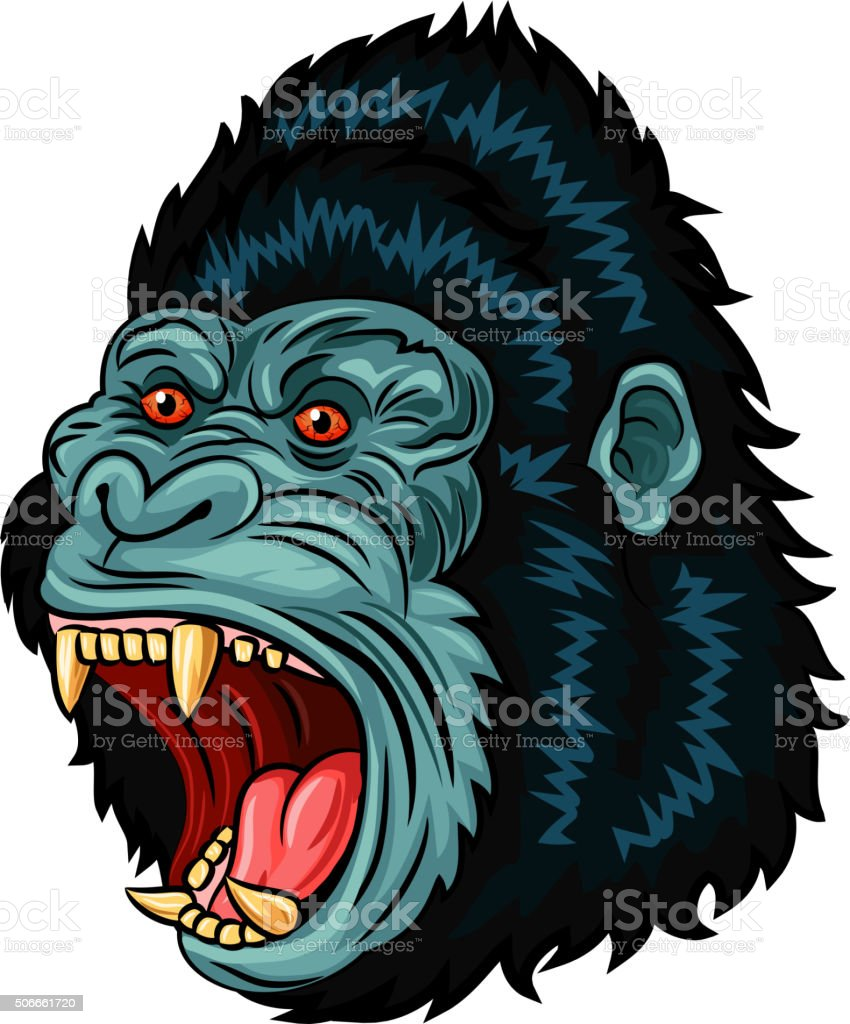 Illustration of Angry gorilla head character isolated on white background vector art illustration