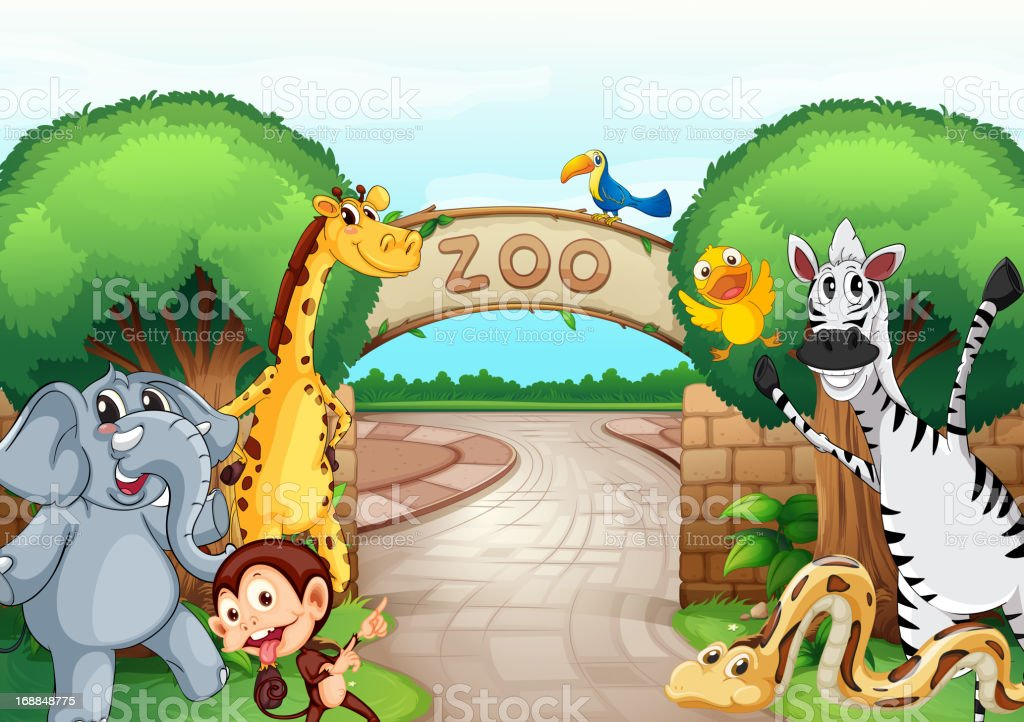 Illustration of animals welcoming people to the zoo royalty-free stock vector art