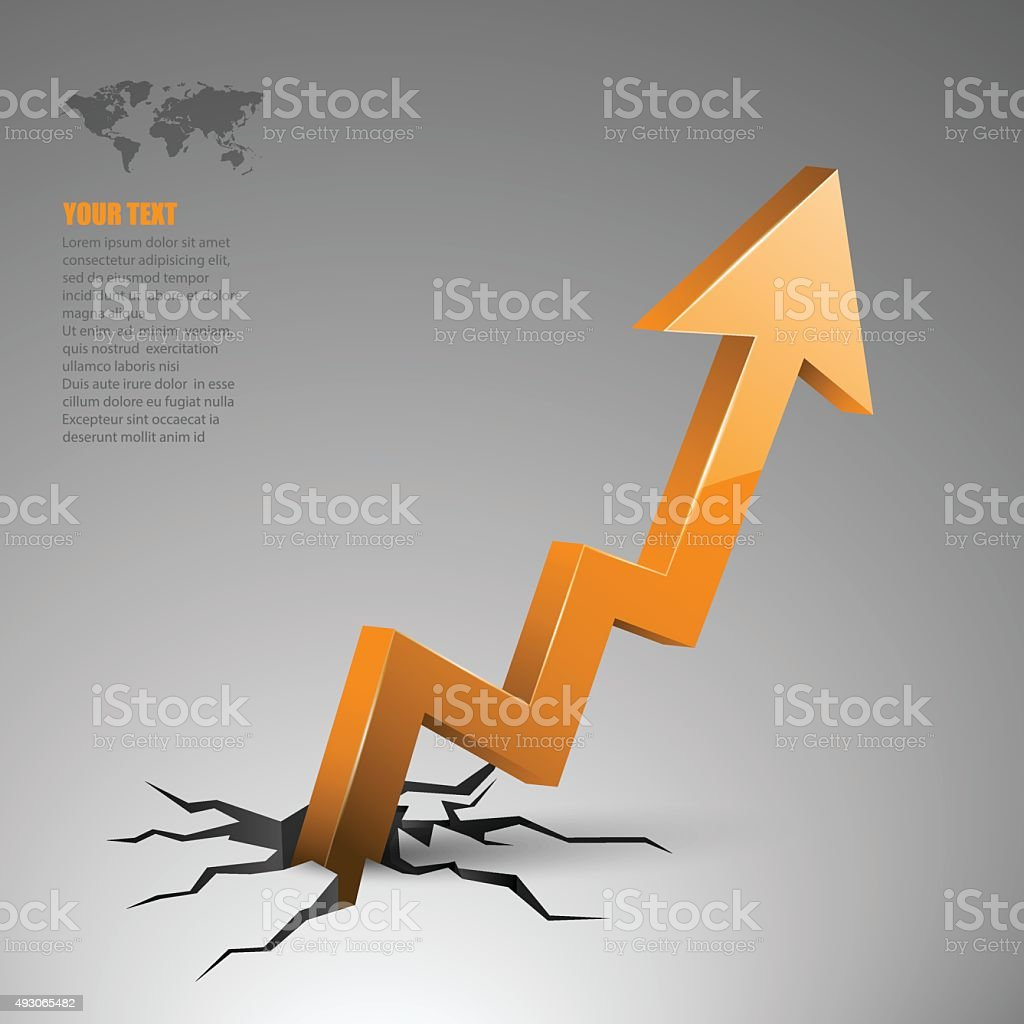 illustration of arrow coming out of cracked ground. vector art illustration