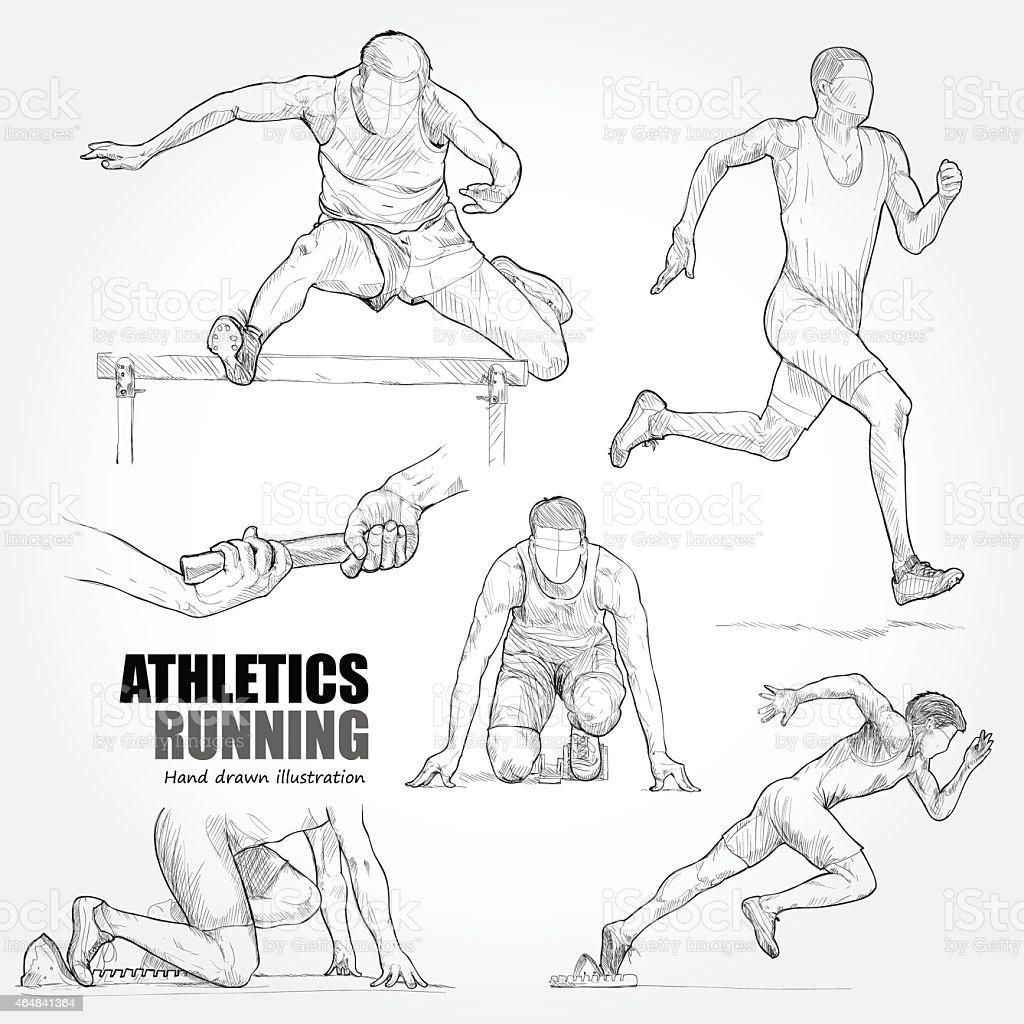 Illustration of Athletics. Hand drawn. vector art illustration