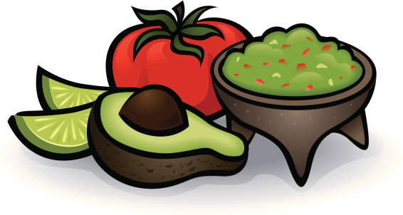 Illustration of avacodo and guacamole ingredients vector art ...